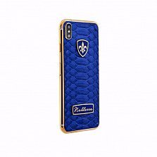 Apple IPhone XS Noblesse ODLIGE BLUE PYTHON в синей коже питона, серебре и позолоте