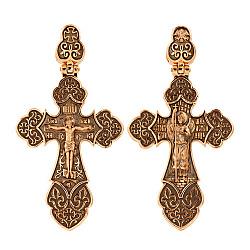 Золотой крестик Архангел в комбинированном цвете с черным родием