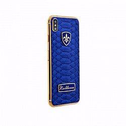 Apple IPhone XS Noblesse ODLIGE BLUE PYTHON в синей коже питона, серебре и позолоте