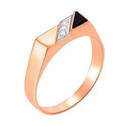 Золотой перстень-печатка с ониксом и фианитами 000104112