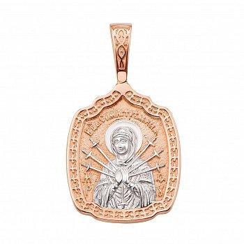 Золотая ладанка в комбинированном цвете Семистрельная Божья Матерь с молитвой 000132846