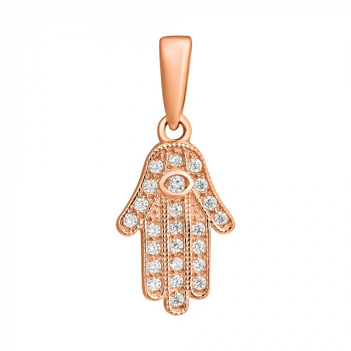 Золотой кулон Хамса с белым цирконием 000079930