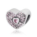 Серебряный шарм Любящее сердце с цирконием