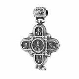 Серебряный черненый крест-мощевик Обращение к Небу с образами и молитвой на внутренней поверхности