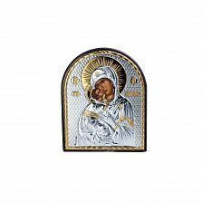 Серебряная икона Владимирская Божья Матерь с позолотой