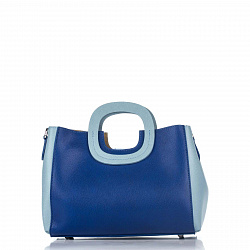 Кожаная деловая сумка Genuine Leather 8652 сине-голубого цвета с тремя отделениями
