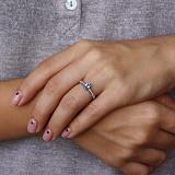 Серебряное кольцо Илайя с кварцем цвета танзанит и фианитами