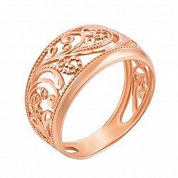 Золотое кольцо Изящество в красном цвете с ажурными узорами