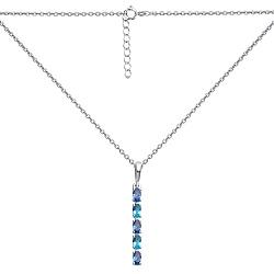 Серебряное колье Аксель в якорном плетении с подвесом из кварцев London blue