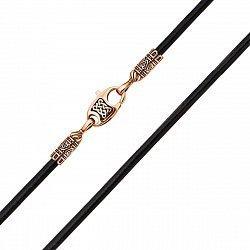 Ювелирный шнурок из черной кожи с золотым замочком 000129026