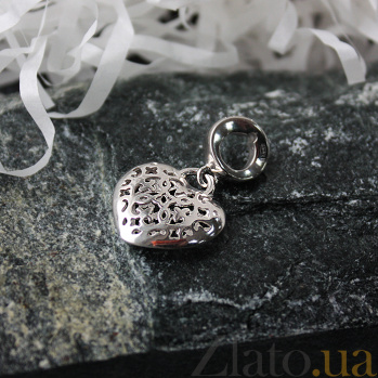 Серебряный шарм-подвес Резное сердце 000043654