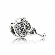 Серебряный шарм-сердце Надежный замок с подвеской-ключиком и фианитами