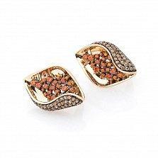 Золотые серьги Робертина с оранжевыми и коньячными фианитами