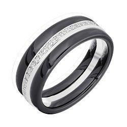 Серебряное наборное кольцо с керамикой и фианитами 000039553