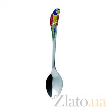 Серебряная ложка с эмалью детская Попугай ZMX--1285_1150