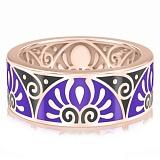 Мужское обручальное кольцо из розового золота с эмалью Талисман: Души