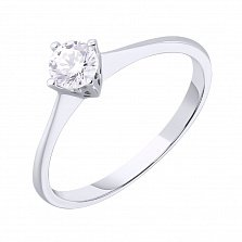 Кольцо из белого золота Ненаглядная с кристаллом Swarovski