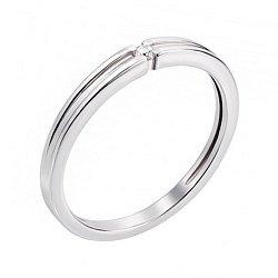 Кольцо из белого золота с бриллиантом и родированием 000131408
