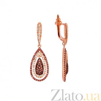 Серьги с белым и оранжевым цирконием Зарина VLT--ТТ258-4