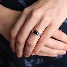 Серебряное кольцо Завирюха с гранатом и фианитами