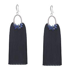 Серьги-кисточки Сионна из шелковых нитей с ляписом и кристаллами Swarovski