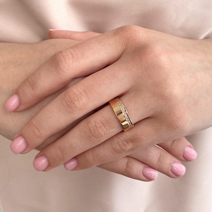 Обручальное кольцо из красного золота с бриллиантами 000136363 000136363