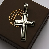 Серебряный крест с чёрной эмалью Ночное небо