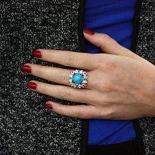 Серебряное кольцо Венок из бабочек с бирюзой, разноцветной эмалью и фианитами