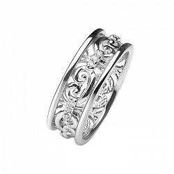 Обручальное кольцо из белого золота с бриллиантами Барокко