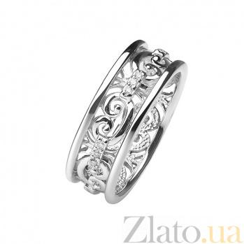 Обручальное кольцо из белого золота с бриллиантами Барокко 000030489