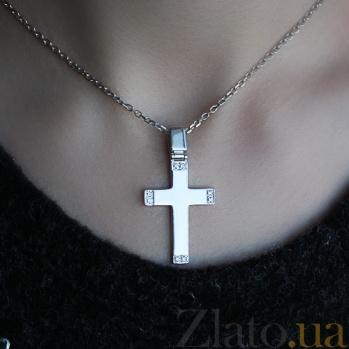 Серебряный крест с бриллиантами Смирение 79300299