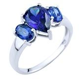 Серебряное кольцо Луизина с синтезированным танзанитом