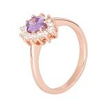 Позолоченное серебряное кольцо с фиолетовым фианитом Пенелопа