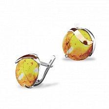 Серебряные серьги Brightness с янтарем и золотыми накладками