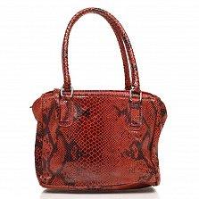 Кожаная сумка на каждый день Genuine Leather 8428 бордового цвета с тремя отделениями на молнии