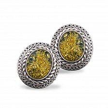 Серебряные серьги Ингрид с янтарем и чернением
