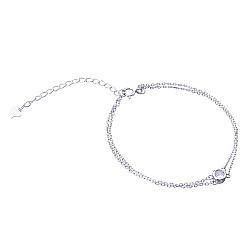 Серебряный браслет Дестини с кристаллом циркония