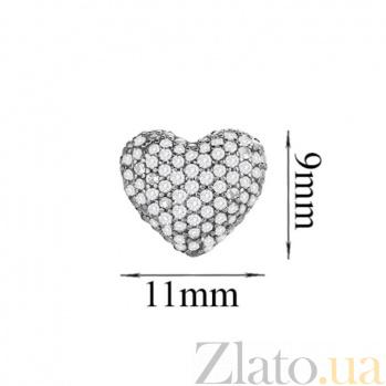 Серебряные серьги Блестящее сердечко с прозрачным цирконием 000031121