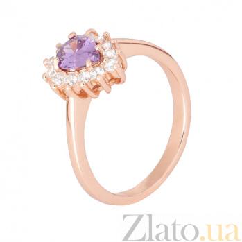 Позолоченное серебряное кольцо с фиолетовым фианитом Пенелопа 000028417