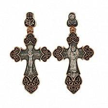 Золотой крестик с черным, белым родированием и эмалью Архангел