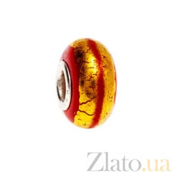 Серебряная бусина с красным муранским стеклом AQA--002510245