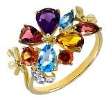 Кольцо из желтого золота Верона с сапфиром, аметистом, топазом, турмалином, цитрином и бриллиантами