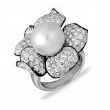 Кольцо Мила из белого золота с бриллиантами и жемчугом