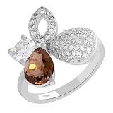 Серебряное кольцо с кварцем и фианитами Клодетта