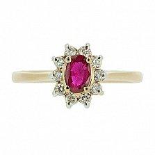 Золотое кольцо Малинка в красном цвете с рубином и бриллиантами