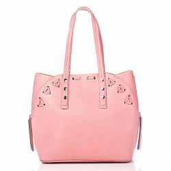 Кожаная сумка на каждый день Genuine Leather 8657 розового цвета с дополнительной сумкой-вкладышем