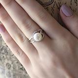 Серебряное кольцо Мистина с жемчугом и фианитами