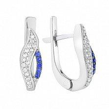 Серебряные серьги Анита с синим и белым цирконием
