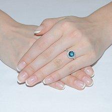 Кольцо в белом золоте Келли с голубым топазом и фианитами