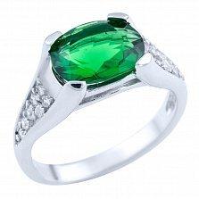 Серебряное кольцо Авалона с зеленым и белыми фианитами